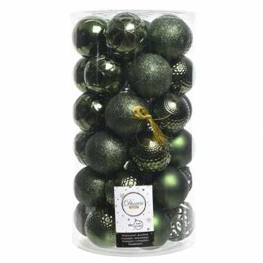 Dennen groene kerstballen set 6 cm 36 stuks