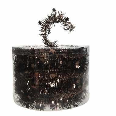 Donker bruine kerstboom folie slinger met ster 700 cm