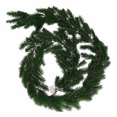Donker groene kerst dennenslinger 180 cm