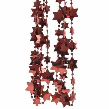 Donker rode kerstboom sterren kralenketting 270 cm