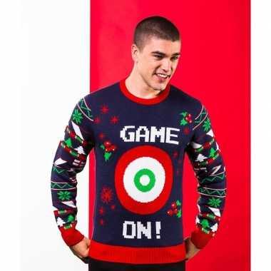 Donkerblauwe kerst sweater met doelwit voor heren