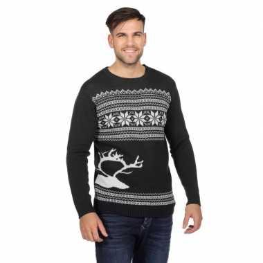 Donkergrijze kerst sweater met rendier voor heren