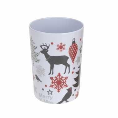 Drinkbeker wit met kerst opdruk