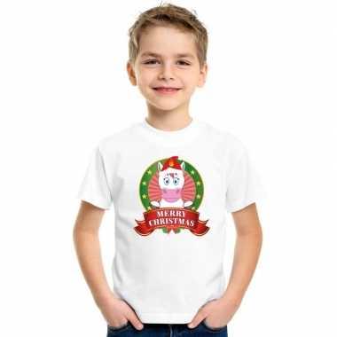 Eenhoorn kerstmis shirt wit voor kinderen