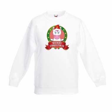 Eenhoorn kerstmis sweater wit voor jongens