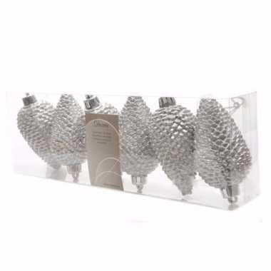 Elegant christmas kerstballen dennenappelvorm glitter zilver