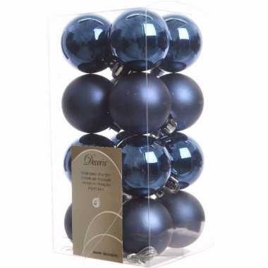 Elegant christmas kerstboom decoratie kerstballen blauw 16 stuks