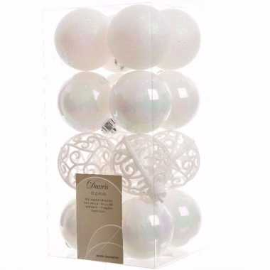 Elegant christmas kerstboom decoratie kerstballen wit 16 stuks