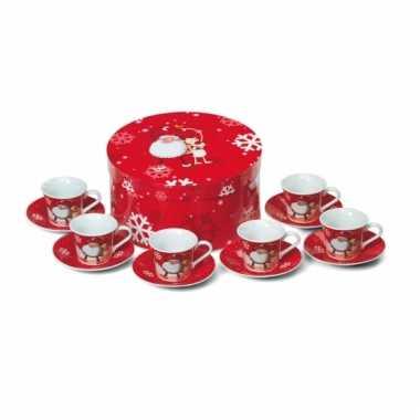 Espresso kopjes met kerstprint
