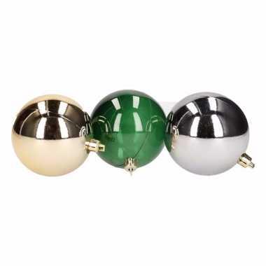 Forest christmas 6 delige kerstballen set groen goud