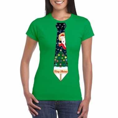 Fout kerst shirt groen kerstboom stropdas voor dames