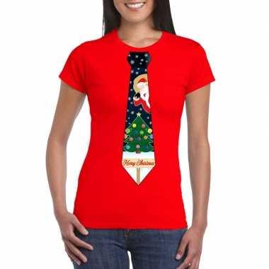 Fout kerst shirt rood kerstboom stropdas voor dames