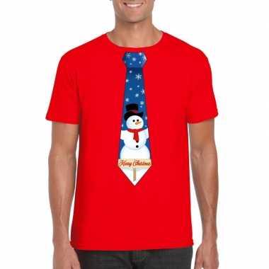 Fout kerst shirt rood sneeuwman stropdas voor heren