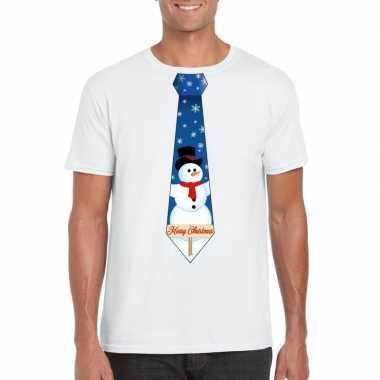 Fout kerst shirt wit sneeuwman stropdas voor heren