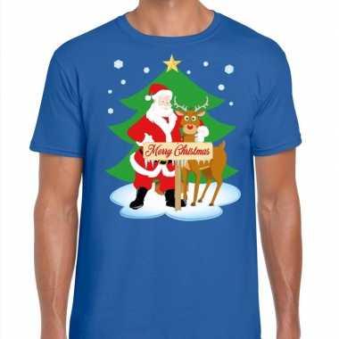 Fout kerstmis shirt blauw met de kerstman en rudolf voor heren