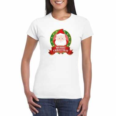 Fout kerstmis shirt met kerstman print voor dames