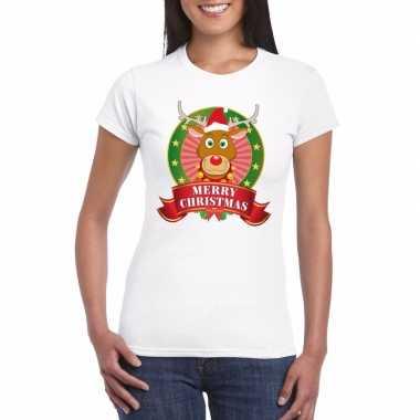 Fout kerstmis shirt met rendier rudolf voor dames