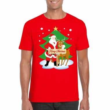 Fout kerstmis shirt rood met de kerstman en rudolf voor heren