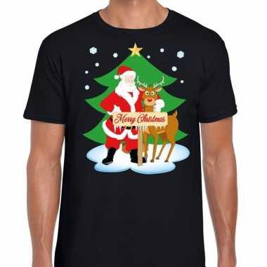 Fout kerstmis shirt zwart met de kerstman en rudolf voor heren
