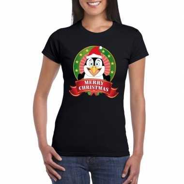 Fout kerstmis shirt zwart met pinguin print voor dames