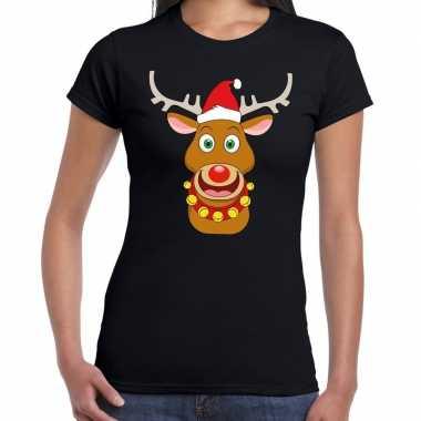 Fout kerstmis shirt zwart met rendier rudolf rode muts