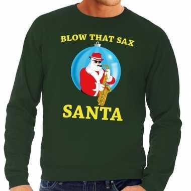Foute feest kerst sweater groen blow that sax voor heren