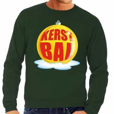 Foute feest kerst sweater met gele kerstbal op groene sweater voor he