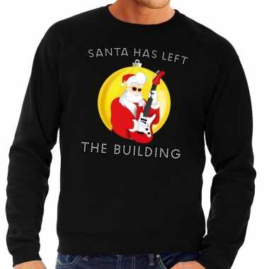 Foute feest kerst sweater zwart santa elvis has left the building voo