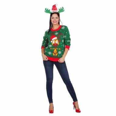 Foute groene kersttrui met rendier voor dames
