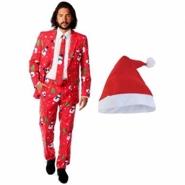 Foute kerst opposuits pakken/kostuums met kerstmuts - maat 48 (m) voo