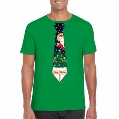Foute kerst shirt groen kerstboom stropdas voor heren