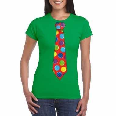 Foute kerst shirt met kerstballen stropdas groen voor dames