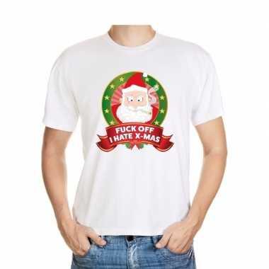 Foute kerst shirt wit fuck off i hate x-mas voor heren