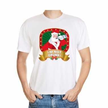 Foute kerst shirt wit met dronken kerstman voor heren