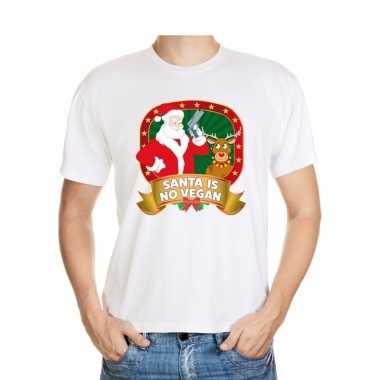 Foute kerst shirt wit santa is no vegan voor heren