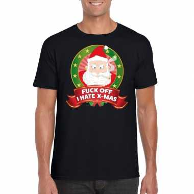 Foute kerst shirt zwart fuck off i hate x-mas voor heren