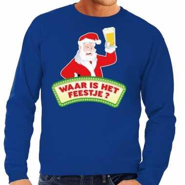 Foute kerst sweater blauw dronken kerstman met bier heren