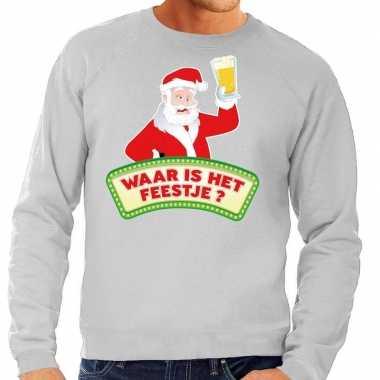 Foute kerst sweater grijs dronken kerstman met bier heren