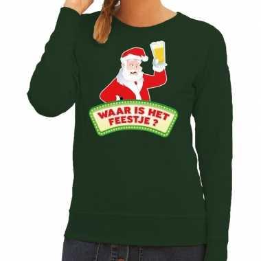 Foute kerst sweater groen dronken kerstman met bier dames