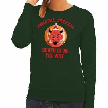 Foute kerst sweater groen duivel dames