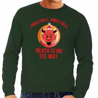 Foute kerst sweater groen duivel heren