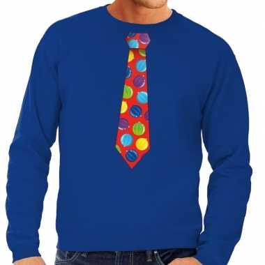 Foute kerst sweater met kerstballen stropdas blauw voor heren