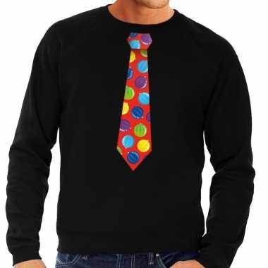 Foute kerst sweater met kerstballen stropdas zwart voor heren