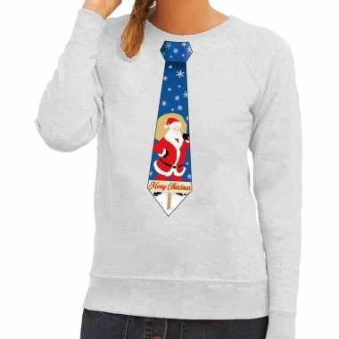 Foute kerst sweater met kerstman stropdas grijs voor dames