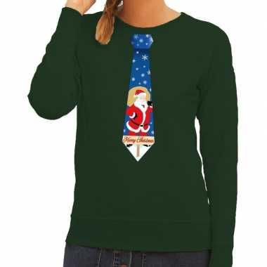 Foute kerst sweater met kerstman stropdas groen voor dames