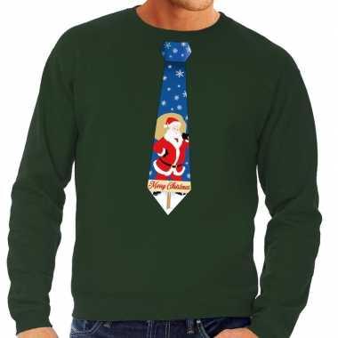 Foute kerst sweater met kerstman stropdas groen voor heren