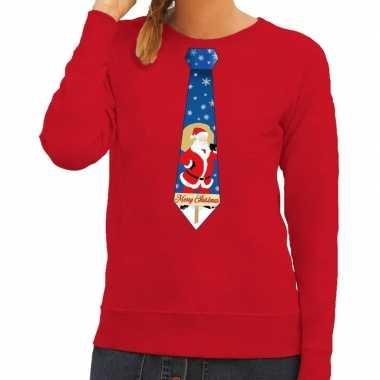 Foute kerst sweater met kerstman stropdas rood voor dames