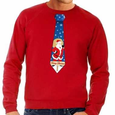 Foute kerst sweater met kerstman stropdas rood voor heren