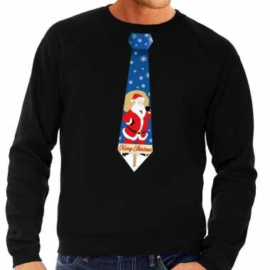 Foute kerst sweater met kerstman stropdas zwart voor heren