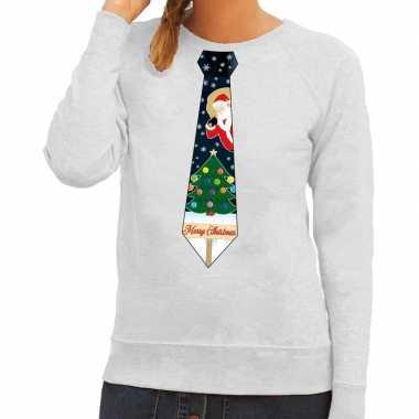 Foute kerst sweater met kerstmis stropdas grijs voor dames